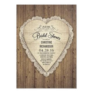 rustic country wood lace & burlap bridal shower invitation