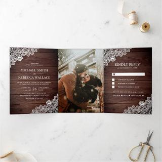 Rustic Country Wood Lace Wedding Photo Tri-Fold Invitations
