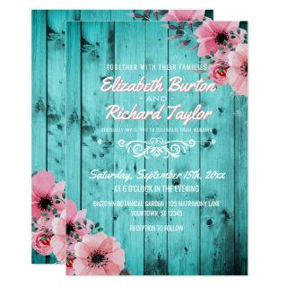 Rustic Country Wood Pink Floral Boho Teal Wedding Invitations
