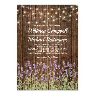 Rustic Country Wood String Lights  Floral Wedding Invitations