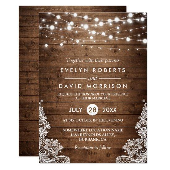Rustic Country Wood Twinkle Lights Lace Wedding Invitations