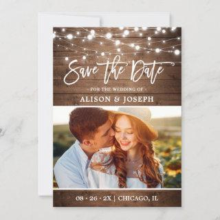 Rustic Country Wood Twinkle Lights Wedding Photo Save The Date