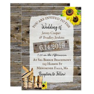 Rustic Cowboy Boots and Sunflowers Wedding Invitations