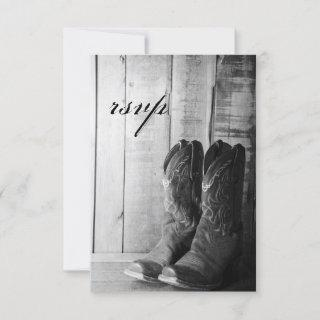 Rustic Cowboy Boots Country Wedding RSVP Response