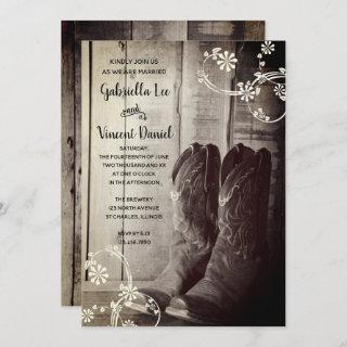 Rustic Cowboy Boots Floral Country Western Wedding Invitations