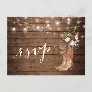 Rustic Cowboy Boots Floral String Lights RSVP Invitation Postcard