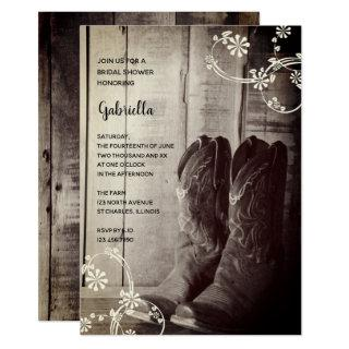 Rustic Cowboy Boots Floral Western Bridal Shower Invitations