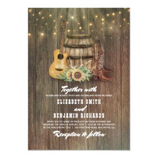 Rustic Cowboy Boots Sunflower Wine Barrel Wedding Invitations
