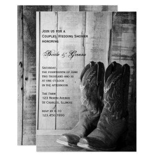 Rustic Cowboy Boots Western Couples Wedding Shower Invitations