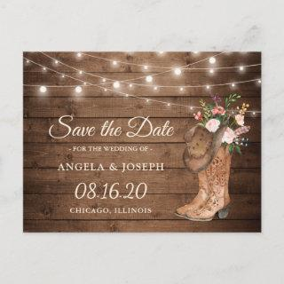 Rustic Cowboy Cowgirl Boots Floral Save the Date Announcement Postcard