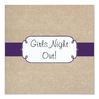 Rustic Dark Purple & Beige Burlap Girls Night Out Invitation