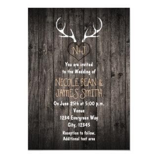 Rustic Deer Antlers & Carved Heart Wedding Invitation