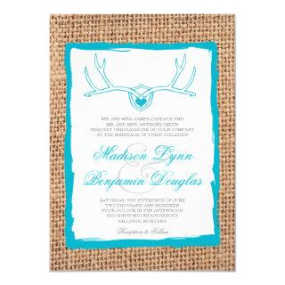 Rustic Deer Antlers Teal Burlap Wedding Invites