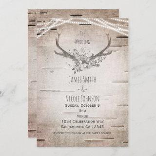 Rustic Deer Antlers & White Birch Vintage Wedding Invitation