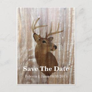 rustic deer the hunt is over wedding save the date announcement postcard