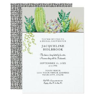 Rustic Desert Cactus Bridal Shower Watercolor Invitation