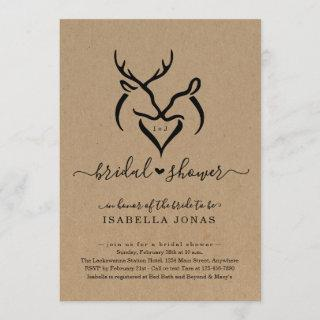 Rustic Doe & Deer Antlers Heart Bridal Shower Invitations