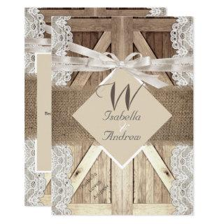 Rustic Door Wedding Beige Lace Wood Burlap Writing Invitation