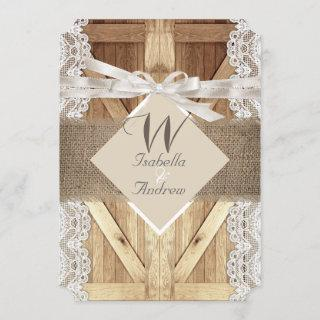 Rustic Door Wedding Beige White Lace Wood Burlap Invitation