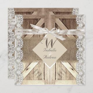 Rustic Door Wedding Lace Wood Burlap Writing 2 Invitations