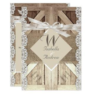 Rustic Door Wedding Lace Wood Burlap Writing 2a Invitations