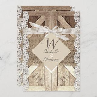 Rustic Door Wedding Lace Wood Burlap Writing 2a Invitation