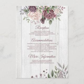 Rustic Dusty Rose Country Wood Enclosure Card