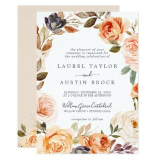 Rustic Earth Florals All In One Wedding Invitations