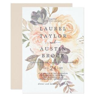Rustic Earth Florals | Faded Flowers Wedding Invitations