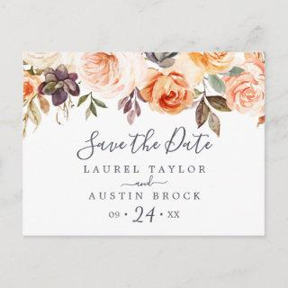 Rustic Earth Florals Save the Date Postcard