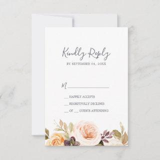 Rustic Earth Florals Simple RSVP Card