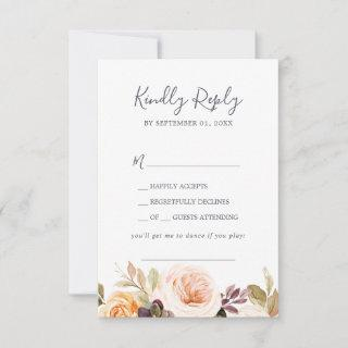 Rustic Earth Florals Song Request RSVP Card