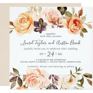Rustic Earth Florals Square Wedding Invitations