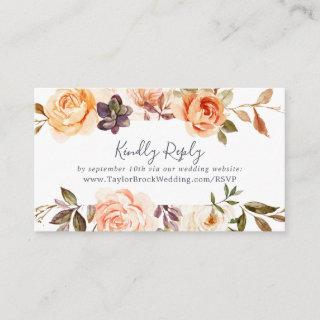 Rustic Earth Florals Wedding Website RSVP Enclosure Card