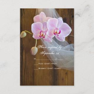Rustic Elegant Orchids Country Wedding RSVP Card