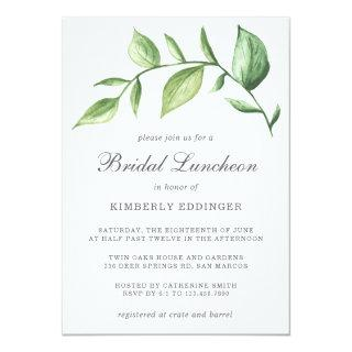 Rustic Elegant Watercolor Greenery Bridal Luncheon Invitations