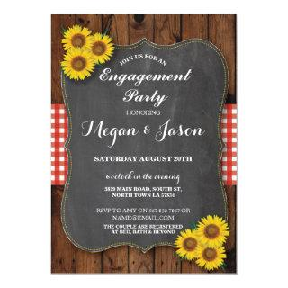 Rustic Engagement Shower Sunflower Chalk Invite
