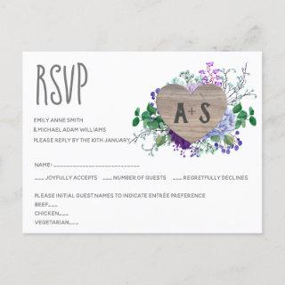 Rustic Engraved Heart Monogram RSVP Floral Wood Invitation Postcard