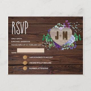 Rustic Engraved Wood Heart Monogram Floral Fall Invitations Postcard