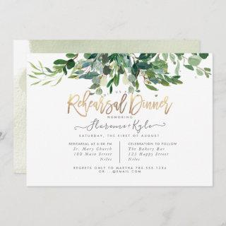 Rustic Eucalyptus, Blue Gum Rehearsal Dinner Invitation