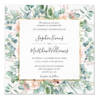 Rustic Eucalyptus Blush Dusty Pink Floral Wedding Invitations