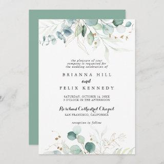 Rustic Eucalyptus Gold Floral Traditional Wedding Invitations