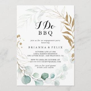 Rustic Eucalyptus Gold I Do BBQ Engagement Party Invitation