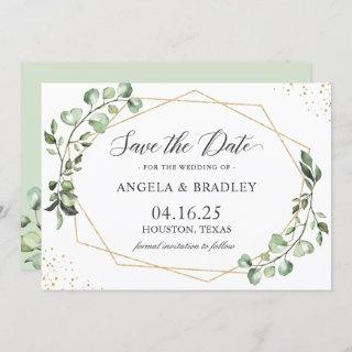 Rustic Eucalyptus Leaves Geometric Save the Date Invitations