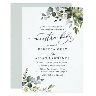 Rustic Eucalyptus Leaves Greenery Neustra Boda Invitation