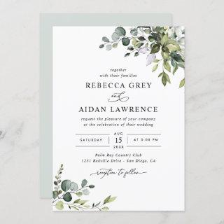 Rustic Eucalyptus Leaves Greenery Wedding Invitations