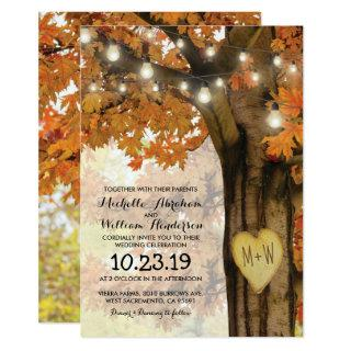 Rustic Fall Autumn Tree Twinkle Lights Wedding Invitations