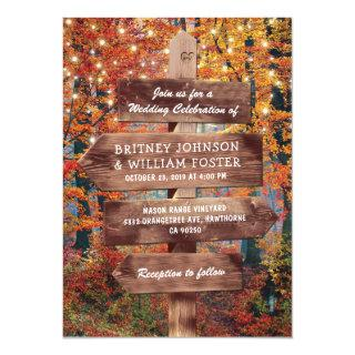 Rustic Fall Autumn Woodland String Lights Wedding Invitation