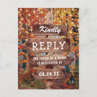 Rustic Fall Autumn Woodland Wedding RSVP Invitations Postcard