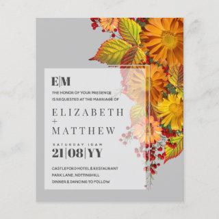 Rustic Fall Daisies Leaves Orange Budget Wedding